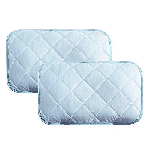 クモリ(Kumori) ひんやり 枕パッド 2枚セット 冷感 枕カバー ピローパッド 洗える 丸洗いOK 速乾 抗菌防臭加工 (43X63cm・二枚組 ライトブルー)