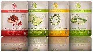 BioRepublic Skincare 8 Biodegradable Sheet Mask Skin Kit (2 of ea.) Aloe, Cucumber, Green Tea, & Pomegranate