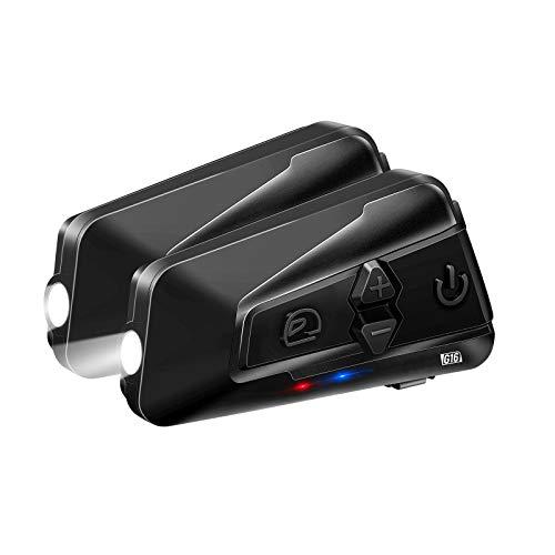 LEXIN G16 Motorrad Intercom, Motorrad Bluetooth 5.0 Headset bis zu 16 Fahrer Gleichzeitige Kommunikation für 2000 Metern mit universeller Kopplung, FM, Siri, Musikteilen Funktionen Doppelpack