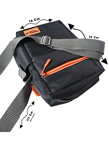 RSM Tourister Stylish 1000 Denim Sling Cross Body Travel Office Business Messenger one Side Shoulder Bag for Men and Women(Dark Grey)