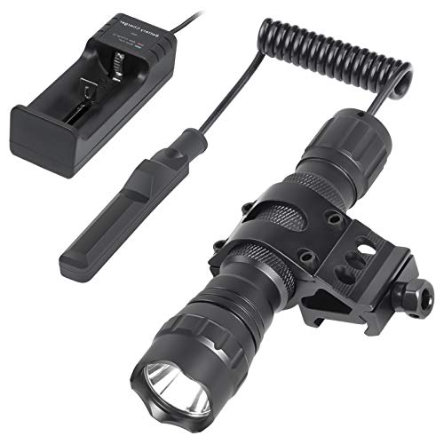 Nelahol Tactical Light Tactical Flashlight 1200 Lumen 200m Beam with Rechargeable Batteries & Charger & Remote Pressure Button Switch & QD Picatinny Rail Mount