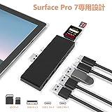 Arkidyn Surface Pro 7対応 USB 3.0 ハブ 10Gbps全機能type-Cポート×1 PD 60W急速充電 高速データ転送USB3.0 Aポート×3 + USB Cポート×1 同時使用可 SD/Micro SDカードリーダー Microsoft サーフェイスプロ 7 マルチ ドッキングステーション