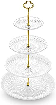 Nwk 3/4 Tier Cupcake Stand with Crystal Clear Plates