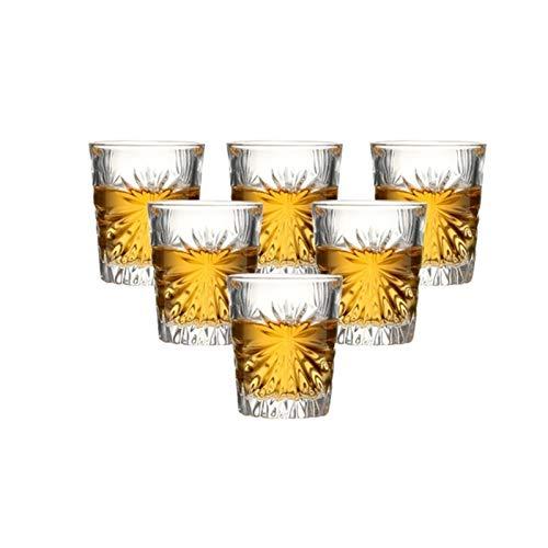 Haute qualité Ensemble de 6 verres à base de baguettes de base lourds en verre de liqueur gravé for barres et boissons d'esprit de mariage 55 ml verres a whisky