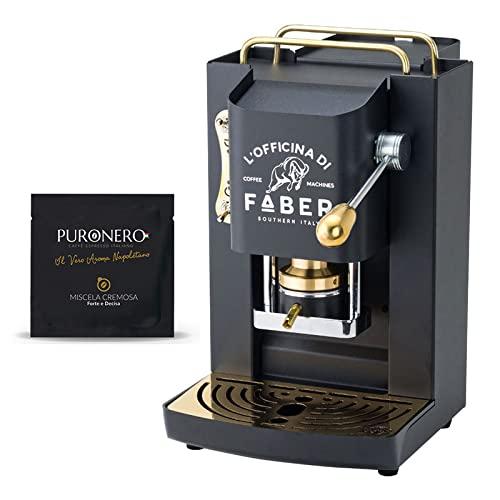 Macchina Caffè Faber PRO Total Deluxe Rifiniture in Ottone a Cialde in Carta Ese 44mm (Nera) + 150 Cialde Caffè Puronero Cremosa Omaggio