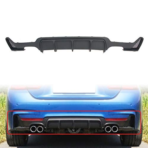 Newsmarts Rear Quad Exhaust Rear Bumper Diffuser Lip Spoiler Diffuser M Sport Performance Compatible with 2014-2020 BMW F32 4-Series 2 Door Coupe