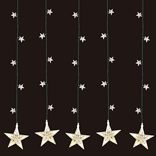 LED Sternenvorhang 105x100cm mit 100 LEDs warmweiß, weihnachtlicher Lichtervorhang Lichterkette