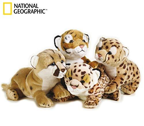 National Geographics 770768 Animali di Peluche Tigre, Leopardo, Leone, Pantera, 4 Pezzi, Modelli Assortiti