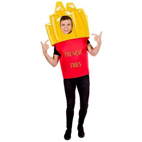 Fun Shack Gelbes Pommes Kostüm für Damen und Herren, Essen Verkleidung - Einheitsgröße