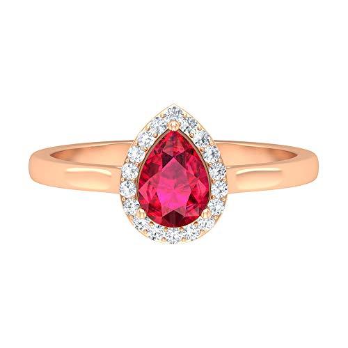 Anillo de compromiso con forma de pera, 3/4 CT 5x7 MM, anillo de rubí en forma de pera, anillo de diamantes HI-SI, anillo de boda vintage, anillo de aniversario, 14K Oro rosa, Size:EU 49