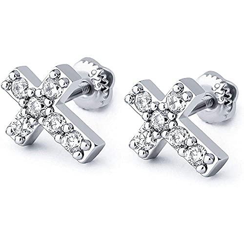 Plata hipoalergénica pequeña cruz helada circonita cúbica tornillo trasero 925 pendientes de tuerca de ley para mujeres hombres joyería regalos