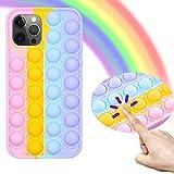 Kare & Kind - Funda protectora para iPhone 12 Pro (silicona, antiansiedad, con diseño de burbujas y sensoriales, color arcoíris