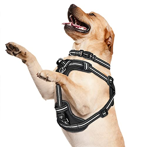 WINSEE Dog Harness and Collar Set for Large Dogs, Reflective Adjustable Step in Dog Halter Harnesses no Pull with Buckle Dog Collar Heavy Duty, Soft Padded Pet Vest Walking Harness Black Pro