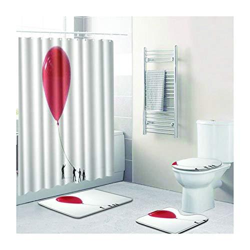 MaxAst Duschvorhang Anti Schimmel Badezimmerteppich Set Globus Weiß Duschvorhang Badewanne 180X180 Badteppich Set 45x75