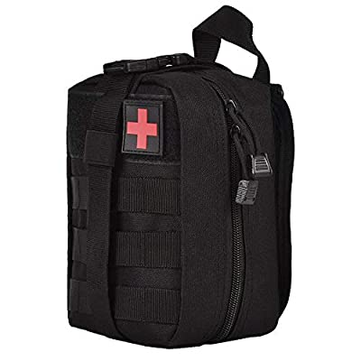Wolike First Aid Bag Empty Tactical Medical Pouch EMT Emergency Survival Kit Outdoor Travel Molle Rip-Away EMT For Medical Multipurpose Waist Pack Military Utility kit (Black) from Wolike