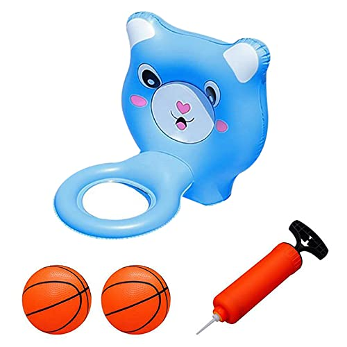 Finetoknow Juguete inflable de baloncesto para niños, deportes acuáticos, juego de baloncesto para niños, bañera para disfrutar del verano, incluye 1 anillo de bola, 2 bolas, 1 bomba