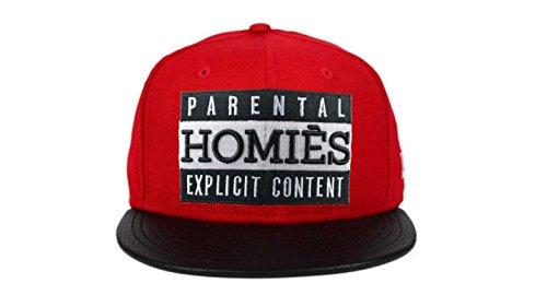 SRKS NYC Homies Snapback Cap Parental Advisory Mütze Kappe (Rot/Schwarz)