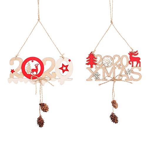 Adornos de Navidad en Madera 2020 Christmas Sign Puerta de madera Colgante...