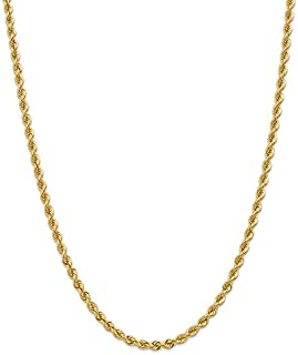 """Mireval 10K, 14K, Yellow, White, and Rose Gold Rope Chain Necklace Collection 16""""-30"""""""