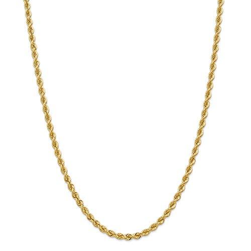 DIAMOND2DEAL uomo 14K giallo oro corda catena collana moschettone 76,2cm