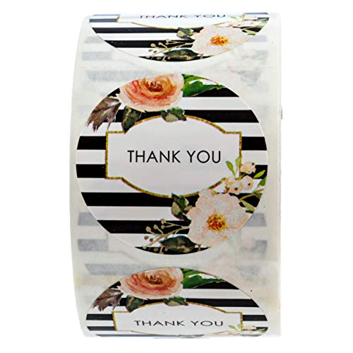 """SBLABELS Black and White Stripe Floral Thank You Stickers - 1.5"""" Circle Labels / 500 per Pack"""