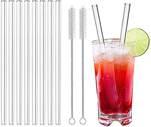 LessMo 8 Piezas 21,5 cm Pajitas de Vidrio reutilizables - LFGB Certificación Pajitas de vidrio Transparente con 2 Cepillos de Limpieza, a Prueba de Explosiones, Ecológicas, Sin BPA, para Cócte