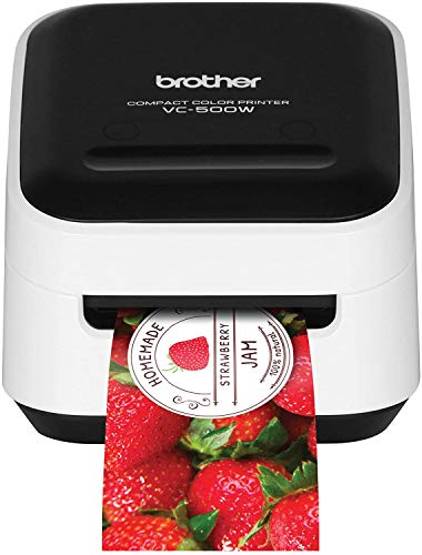 """Brother VC-500W Versatile Compact Color Label and Photo Printer with Wireless Networking, White, 3.8"""" x 4.4"""" x 4.6"""" (VC500W)"""