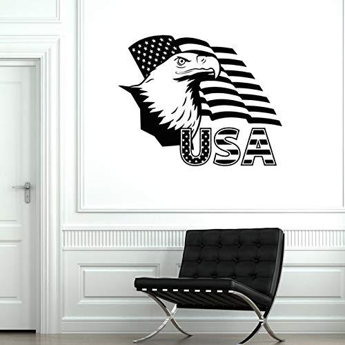 Calcomanía de vinilo de pared creativa autoadhesiva bandera americana águila orgullo americano papel pintado decorativo pegatina de pared A9 52x42 CM
