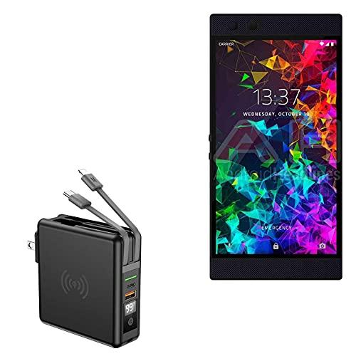 Carregador BoxWave para Razer Phone 2, [Carregador de parede Rejuva sem fio (10000mAh)] Carregador de parede Rejuva sem fio (10.000mAh) para Razer Phone 2 – Preto