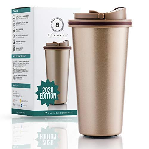 BOHORIA® Premium Edelstahl Kaffee-to-Go-Becher 2020 Edition | Thermo-Becher | Isolierbecher – Vakuumisoliert - 500 ml | Reise-Becher für Kaffee – Autobecher Travel Mug (Classic Gold)