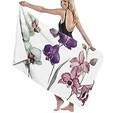 ENZOOIHUI Hermoso patrón de vectores con Flores de orquídeas en Blanco Fon Toalla de baño Toalla de Playa 80X130 Cm