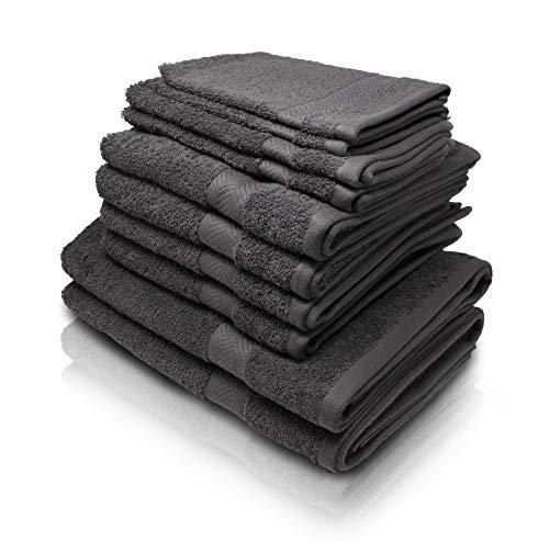 Wash Monkey Luxus Handtuch Set, 10 tlg. Pack - 2x Waschlappen, 2x Gästehandtücher, 4x Handtücher, 2x Duschhandtücher - 100% Frottee Baumwolle| Premium Qualität | anthrazit