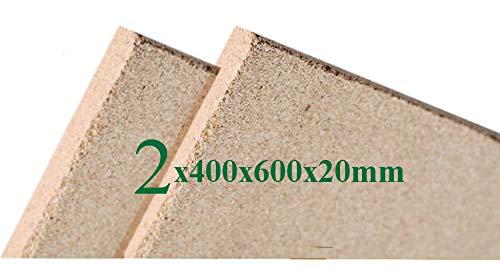 2x Vermiculite Brandschutzplatten | 400x600x20mm | Schamotte Ersatz