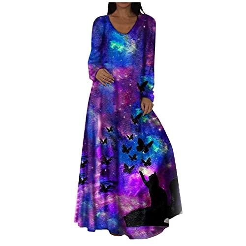 Briskorry Vestido de verano para mujer con diseño de flores, suelto, para fiestas, estilo bohemio, tallas grandes, para la playa, Azul48, L