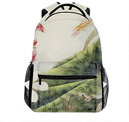 Golden Fish Lily bags for Men, Cute Casual Backpack Travel Bags Women Daypack Travel Bag