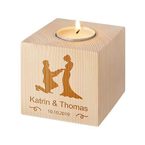 Teelichthalter aus Holz personalisiert - Kerzenständer - Ideales Hochzeitsgeschenk - EIN ganz besonderer Dekoartikel - Mit Gravur - Motiv Brautpaar