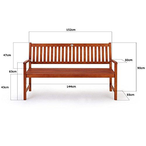 Deuba Gartenbank Maxima 3-Sitzer FSC®-zertifiziertes Eukalyptusholz In- & Outdoor Holzbank Sitzbank Parkbank Bank - 8