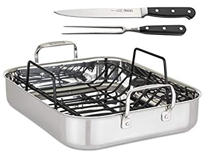 "Viking Culinary 3-Ply Roasting Pan w/ Rack & Carving Set , 16"" x 13"" X 3"", Stainless Steel (4013-9902C)"