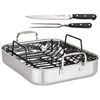 Viking 3-Ply Stainless Steel Roasting Pan with Rack & Carving Set
