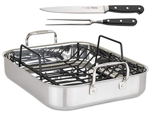 """Viking Culinary 3-Ply Roasting Pan w/ Rack & Carving Set , 16"""" x 13"""" X 3"""", Stainless Steel (4013-9902C)"""