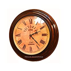 Expressions Enterprises Wooden Wall Clock 11 Nautical Design Victoria London Antique Dial Wall Clock Beautiful Gift Item & Home Decor