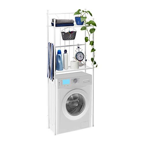 Relaxdays, White WC Regal weiß mit 2 Ablagen, Überbauregal, Toilettenregal, für Waschmaschine, HBT: 166,5 x 59,5 x 26 cm