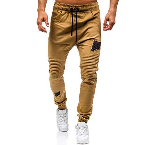 IZHH Men's Sport Sweat Pants Drawstring Classic Joggers Zipper Pockets(Khaki,34)