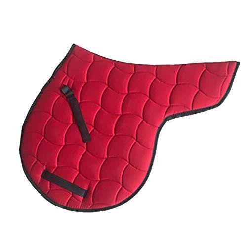 Hmpet Mantilla de Caballo Almohadilla de sillín británica Transpirable Acolchada de algodón Que Absorbe el Sudor, Almohadilla para Montar a Caballo, Lavable a máquina,Rojo