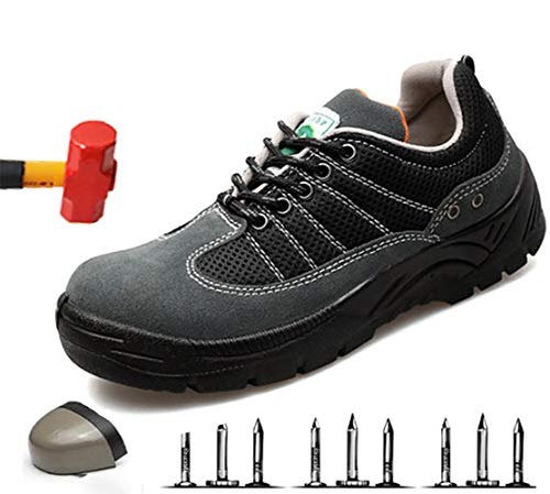 Lichtgewicht heren S3 veiligheidsschoenen werkschoenen sportieve beschermende schoenen met stalen kap suède luchtdoorlatend sneaker anti-smashing hiking schoenen sneakers