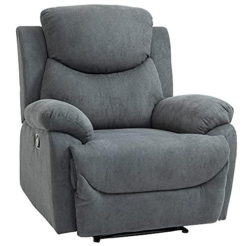 HOMCOM Relaxsessel Einzelsofa Liege 150° neigbar Fernsehsessel Leinen Grau 97 x 96 x 105,5 cm