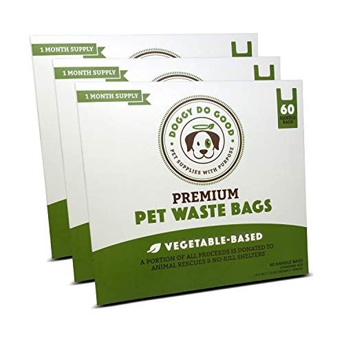 Biodegradable Dog Poop Bags | Compostable Dog Waste Bags with Handles | 100% Plastic Free, Unscented, Vegetable-Based & Eco-Friendly, Thick & Leak Proof, Easy Detach & Open | Standard Size | 180 Count