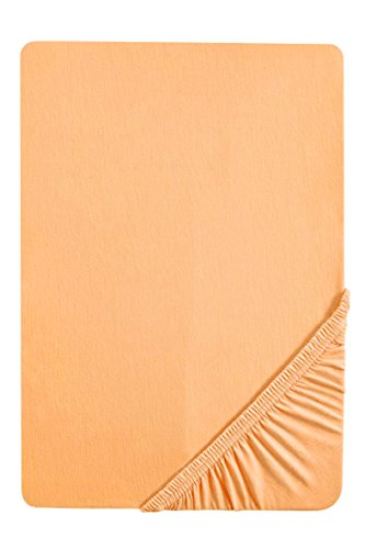 #13 biberna Jersey-Stretch Spannbettlaken, Spannbetttuch, Bettlaken, 90x190 – 100x200 cm, Gold
