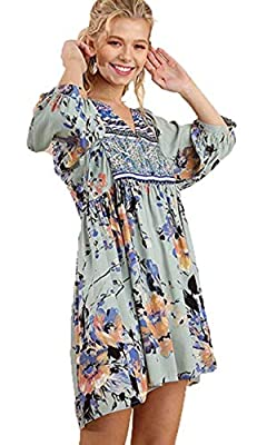 Umgee Women's Bohemian Tunic or Dress, Sage Combo, Large