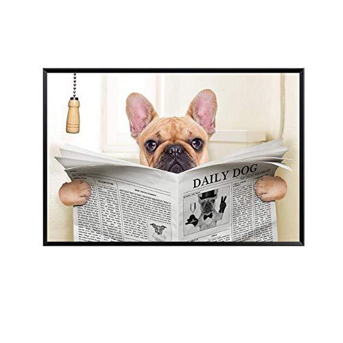 NRRTBWDHL Lustige Mops Hund Minions Wc Lesen Zeitung Badezimmer Dekoration Anime Poster Nordic Leinwand Malerei Wandkunst Druck-60x90 cm Kein Rahmen
